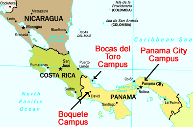 Map of Central America with approximate locations of Habla Ya Spanish Schools in Boquete, Bocas del Toro and Panama City